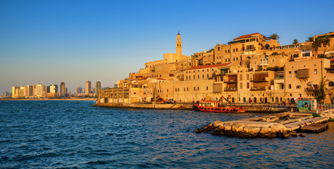 Jaffa Old Town and Tel Aviv skyline, Israel