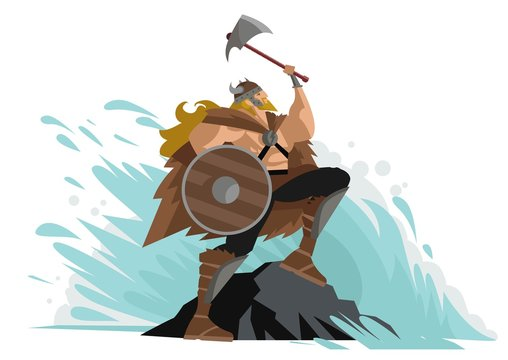 viking with axe near a sea wave