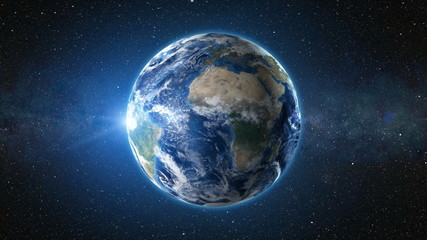 3D Render animation: sunrise view from space on Planet Earth. High detailed. Africa zone. Blue world in black Universe in stars. Realistic world globe. Elements of this image furnished by NASA Fototapete
