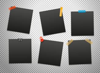 Black frames isolated on transparent background. Vector mockup
