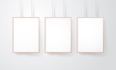 Blank wood frames group on the wall vector mockup