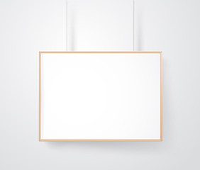 Blank wood frame on the wall vector mockup. Ready for a content