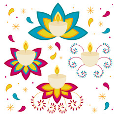 Diwali Hindu festival. candles objects isolated on white background. Elements for graphic, vector illustration. Flat style.