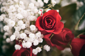 Valentine: Red Rose Bouquet With White Baby's Breath