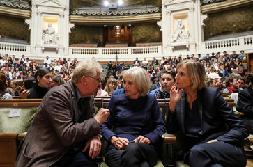 European MP Daniel Cohn-Bendit, former French Justice Minister, Elisabeth Guigou and President of the French parliamentary commission on Foreign Affairs, Marielle de Sarnez talk prior to the President's speech on the EU in Paris