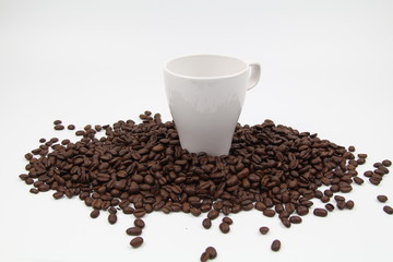 Closeup Coffee Beans with White Cup in the middle isolated white background. Copy Space Concept