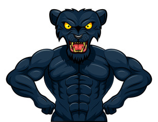 Angry strong panther mascot. Vector illustration