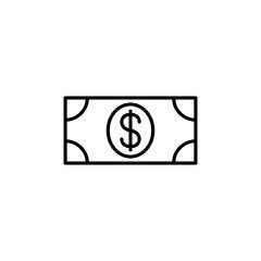 money dollar note line black icon