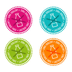 Wall Mural - Set of Allergen free Badges. Lactose free. Vector hand drawn Signs. Can be used for packaging Design.