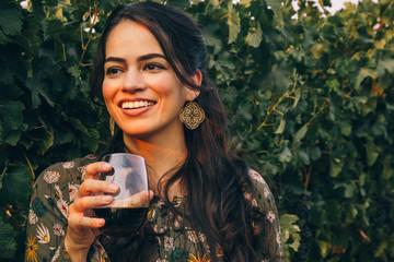 Pretty Latina Woman in a California Vineyard