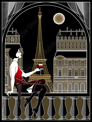 Flapper Girl With Wineglass On A Background Of Paris At
