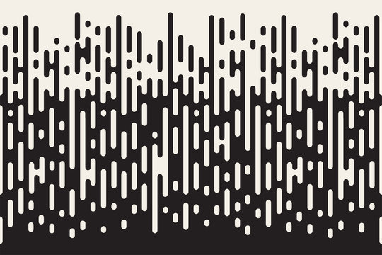 Rounded lines seamless pattern. Black and white background with halftone transition