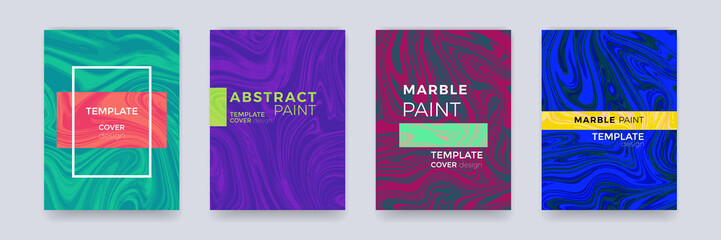 Marble color splash or paint abstract design texture background for brochure banner, poster or magazine cover template vector set. Marbling texture creative watercolor art pattern gradient backdrop