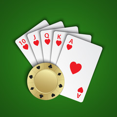 A royal flush of hearts with gold poker chip on green background, winning hands of poker cards, casino playing cards and chip