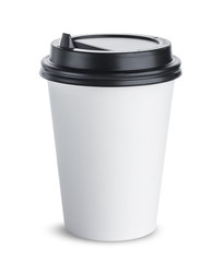 Paper coffee cup with black lid isolated on white background, mock up for your project