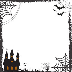 Halloween square frame for text with cobweb, bat, castle. Template for your design greeting cards, invitations, posters. Vector illustration