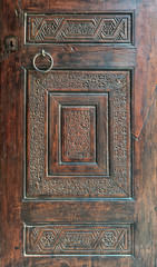 Wooden ornate door of Mausoleum of al-Salih Nagm Ad-Din Ayyub, Cairo, Egypt