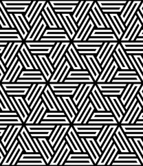 Vector seamless pattern. Modern stylish texture. Monochrome geometric pattern with hexagonal tiles
