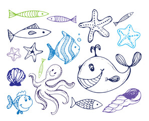 Hand drawn cartoon cute sea life illustration. Line art sketchy detailed, with lots of objects background. Fish vector illustration.