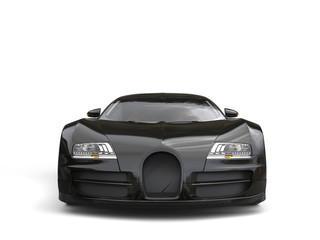 Modern jet black concept super car - front view