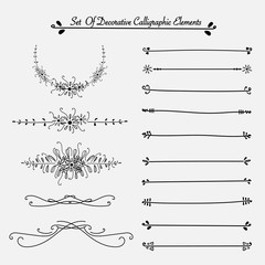 Set Of Decorative Calligraphic Elements For Decoration. Handmade Vector Illustration.