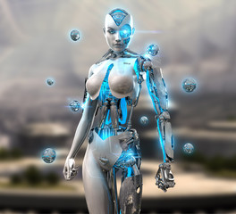 3d render of a female android cyborg character