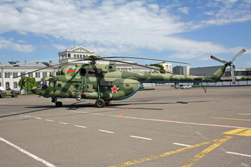 Belarussian landing and transportation  helicopter Mil Mi-8 at exhibition