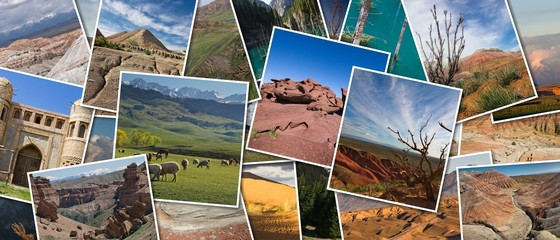 Panoramic collage Journey through the wild nature of Kazakhstan. Beauty of the landscape of Kazakhstan Wall mural
