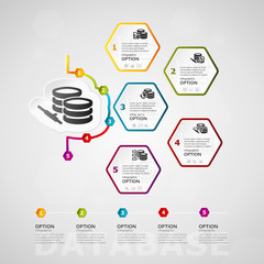 Database timeline infographics design with five steps or options