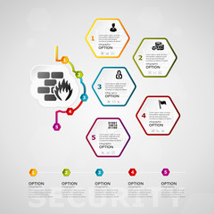 Security timeline infographics design with five steps or options