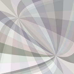 Grey curved ray burst background - vector graphic design from swirling rays