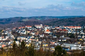 Blick auf aue im Erzgebirge Sachsen