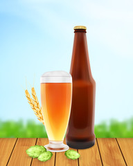 Beer glass with hop plant, wheat and bottle