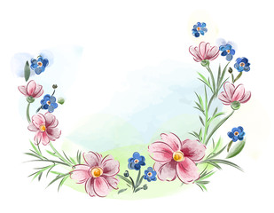 Watercolor flowers violets and pansy and leaves on meadow
