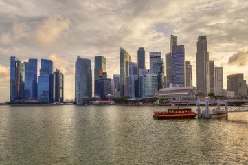 Singapore Skyline at Marina Bay During Sunset