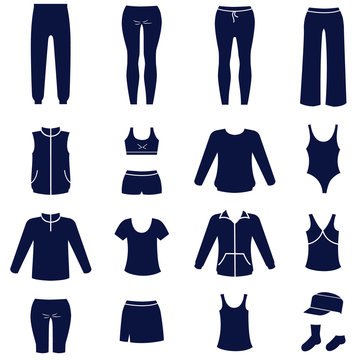 Different types of women sport clothes as glyph icons