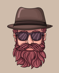 Hipster man people wearing hat and sunglasses.