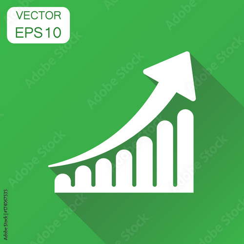 Growth chart icon business concept grow diagram pictogram vector business concept grow diagram pictogram vector illustration on green background with ccuart Images