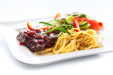 Beef in red wine sauce
