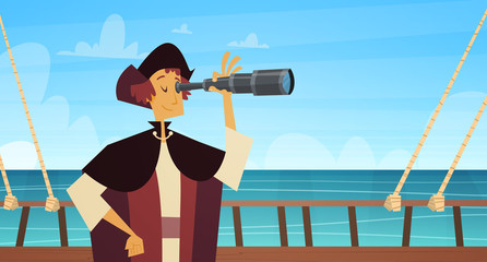 Man On Ship With Spyglass Happy Columbus Day National Usa Holiday Concept Flat Vector Illustration
