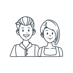 Young couple cartoon icon vector illustration graphic design