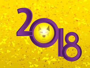 2018, new year, dog, the year of the dog, yellow, gold, purple, picture