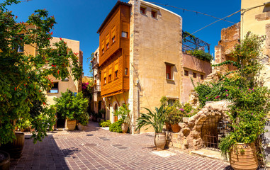 Street in the old town of Chania, Crete, Greece.