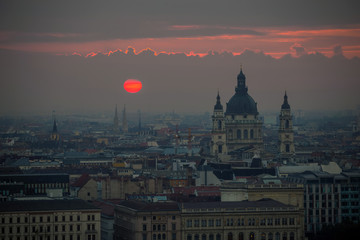 Budapest, Hungary - The famous Saint Stephen's Basilica with red sunrise in the city of Budapest