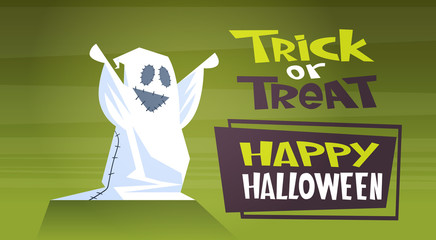 Happy Halloween Banner Holiday Decoration Horror Party Greeting Card Cute Cartoon Ghost Trick Or Treat Flat Vector Illustration