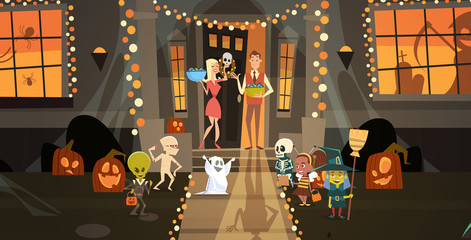 Kids Wearing Monsters Costumes Walking To House Get Candy Tricks Or Treat Happy Halloween Banner Holiday Concept Vector Illustration