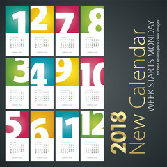 New Desk Calendar 2018 month numbers portrait background