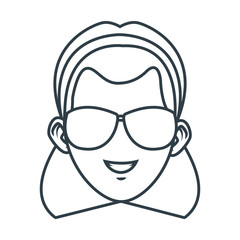Young woman with sunglasses cartoon icon vector illustration graphic design