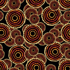African ethnic seamless pattern for fabric, textile, paper. Vector bright illustration on black background