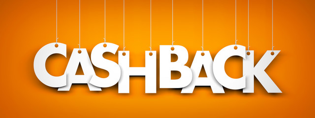 Cashback - word hanging on ropes. 3d illustration